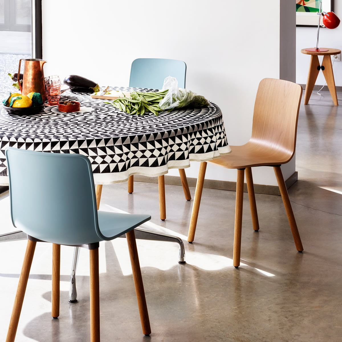 Hal Wood Chair And Linen Table Cloth Geometric By Vitra