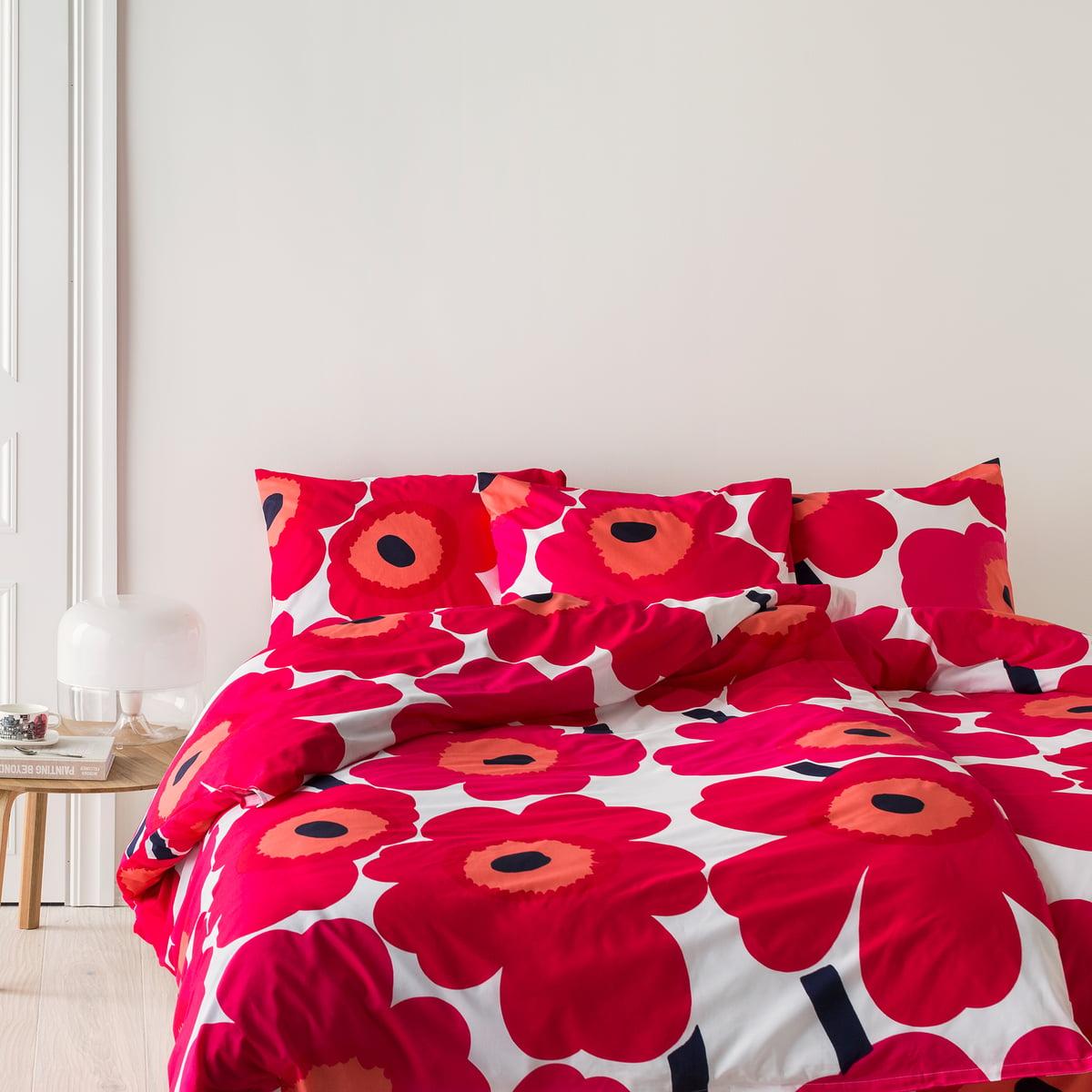 marimekko unikko duevet cover and pillow case with a redwhite florar print