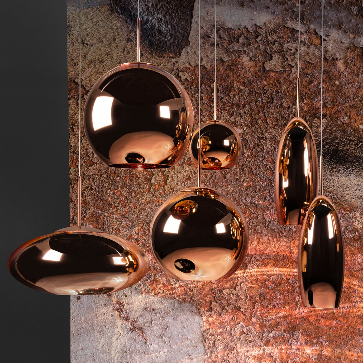 copper pendant lamp by tom dixon in the shop. Black Bedroom Furniture Sets. Home Design Ideas