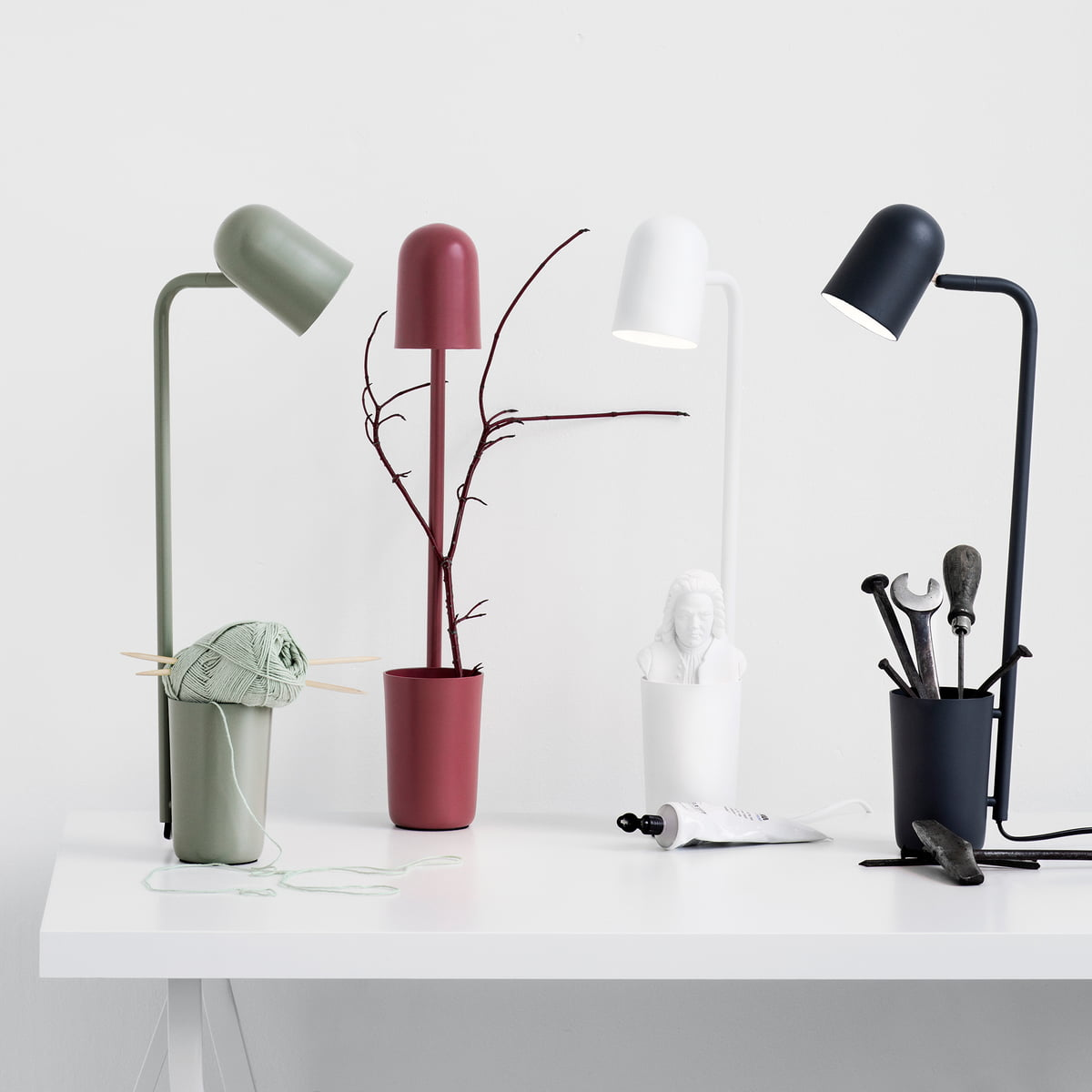 The Northernlighting   Buddy Table Lamp In Olive Green, Marsala Red, White And  Black