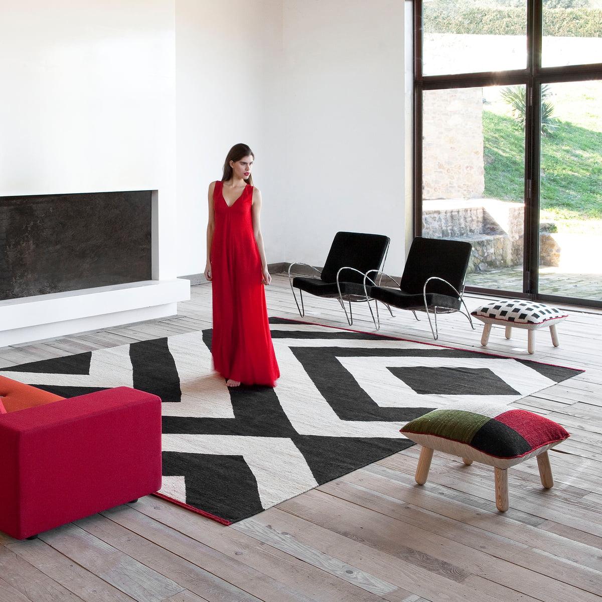 mélange zoom rug by nanimarquina - mélange rug and pouf by nanimarquina
