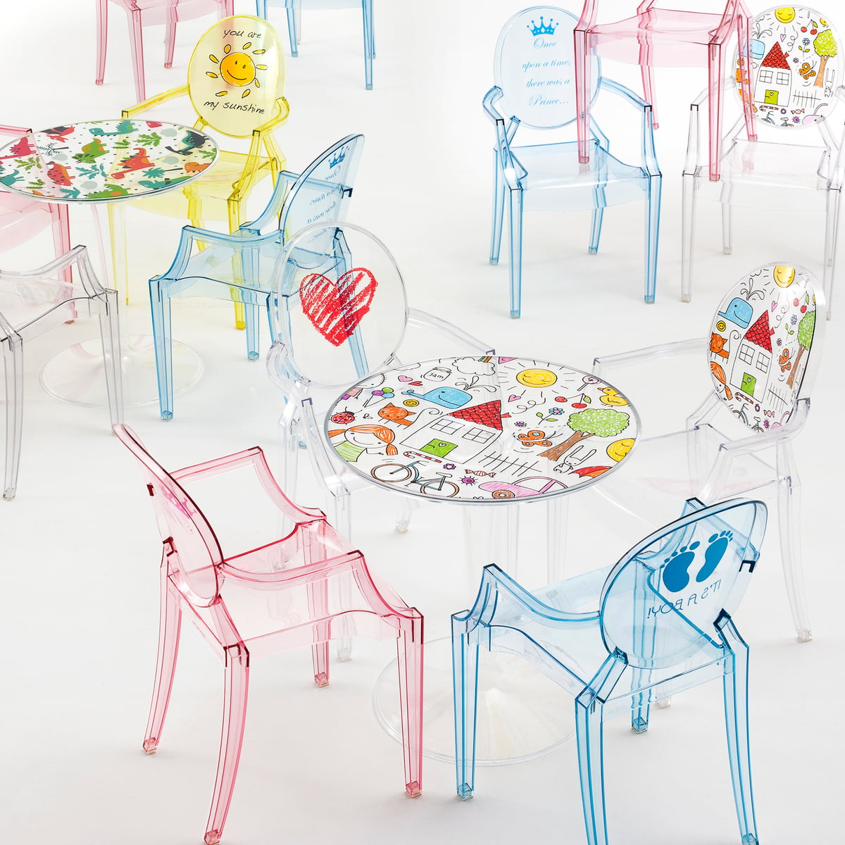 children's chair lou lou ghost by kartell in the shop - lou lou ghost special edition and tip top children's table by kartell