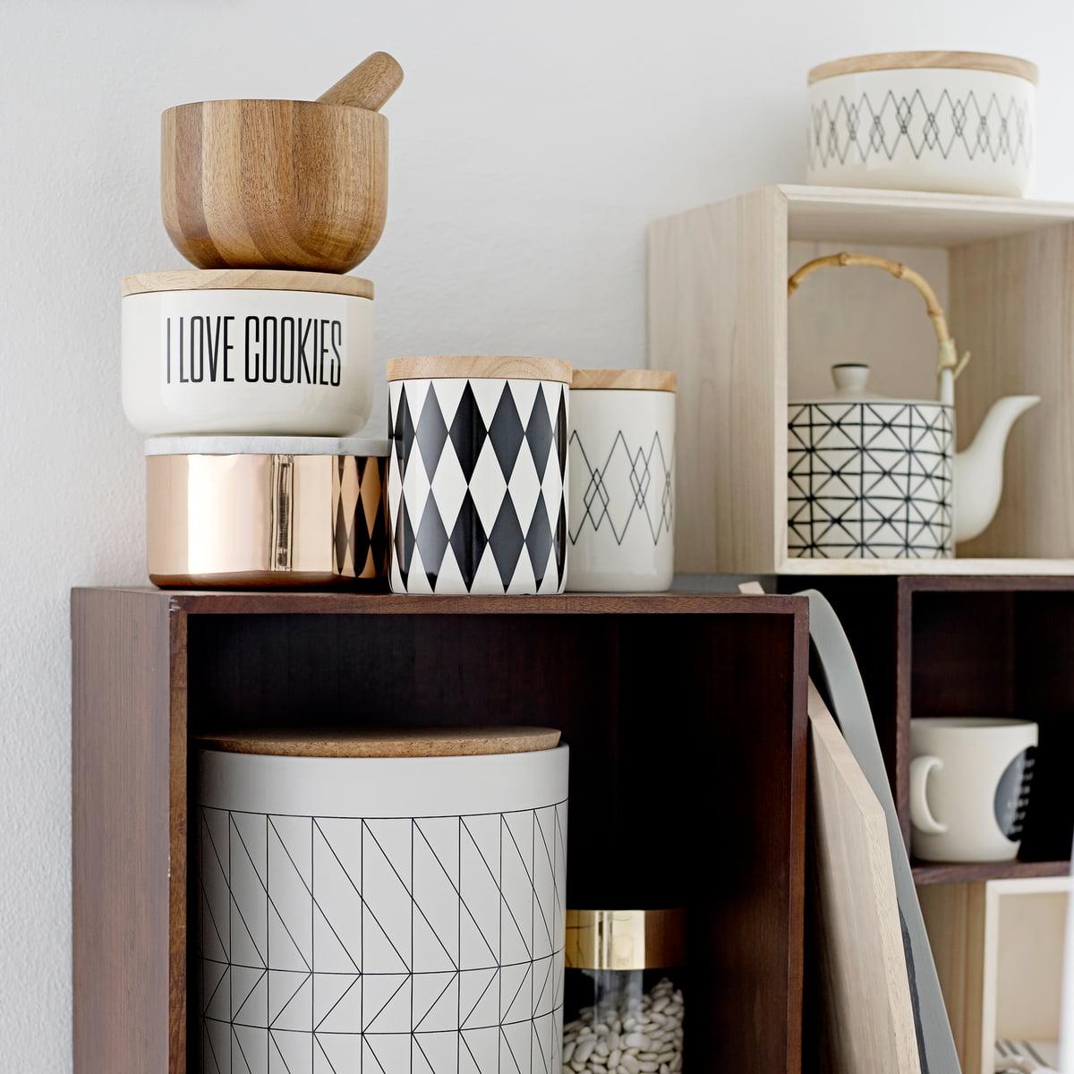 Bloomingville   Storage Jar With Bamboo Lid, Black / White, Ø14.5 X