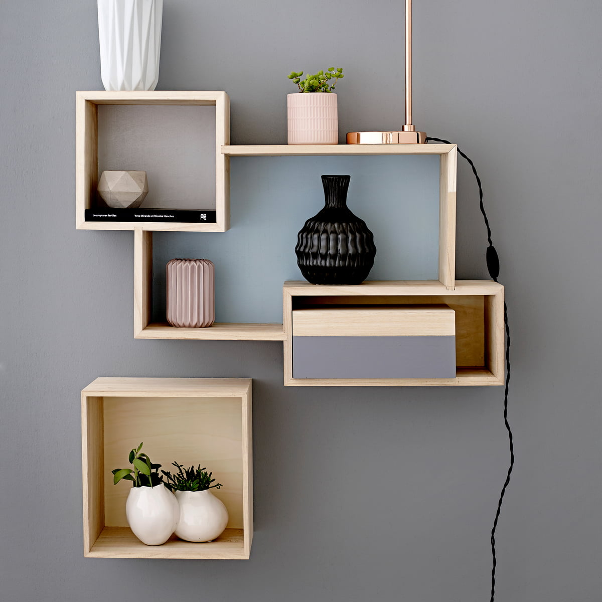 Bloomingville   Wooden Storage Box, Nature / Pastel