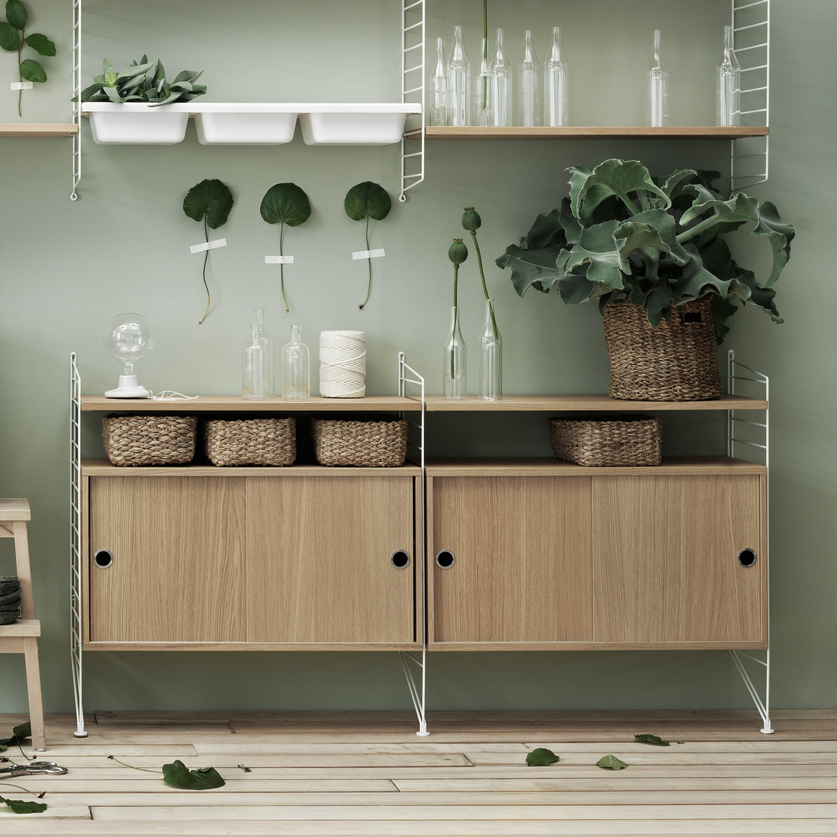 The storage attachment from string in the shop cabinet module with sliding doors 78 x 30 cm by string in ash vtopaller Gallery