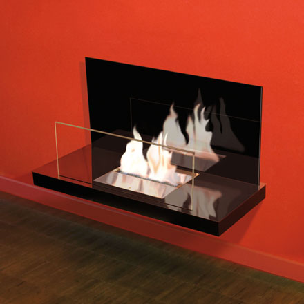 Wallflame II - Stainless steel, high gloss/glass, black