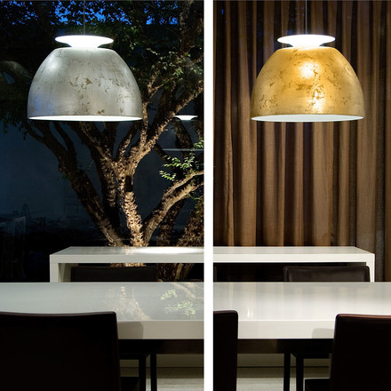 Bossa pendant lamp, silver and gold