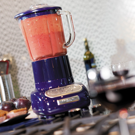 Artisan blender with glass container, blue, smashing
