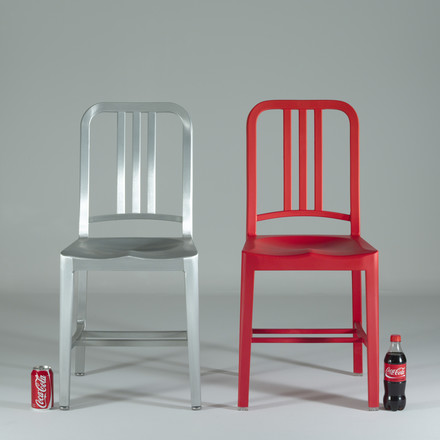 Emeco - 111 Navy Coca-Cola Chair with bottle and can