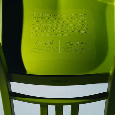 Emeco - 111 Navy Coca-Cola Chair, statement on the back