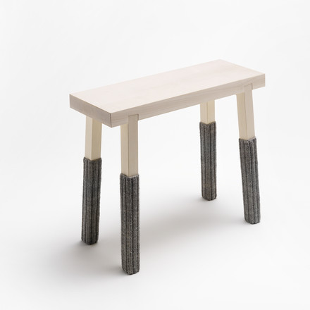 side by side - Schemel footstool, maple wood and feet with socks