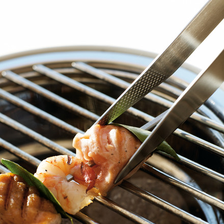 Eva Solo Barrel Grill with barbecue tongs