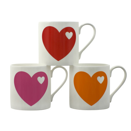 Hearts Mug - stacked, red, orange, pink
