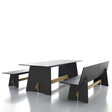 Conmoto - Tension table, anthracite/black/teak, ambience