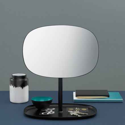 Double Function - Mirror and Shelf all in one with Flip in black by Normann Copenhagen