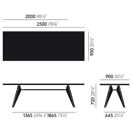Vitra - Em Table - measures