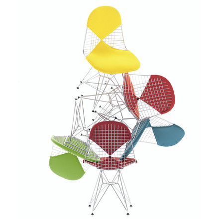 Vitra - Wire Chair DKR, chromed - with seat and back cushions