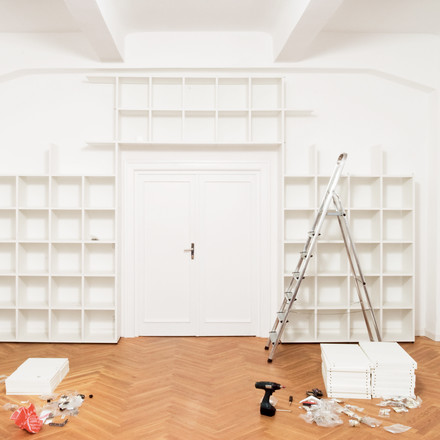 Flötotto - Shelving System 355, white - construction, ambience image