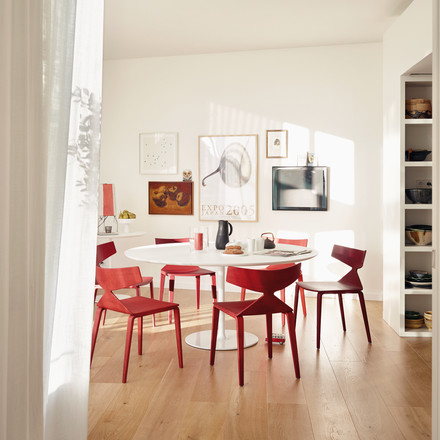 Arper - Saya Chair, wooden legs, red
