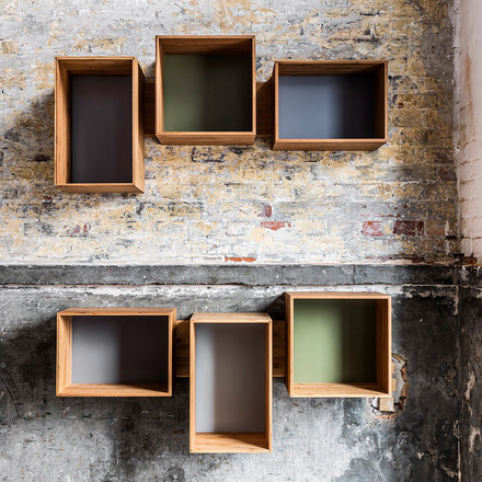 Guaranteed individuality! Boredom impossible! We do wood SJ Bookcase by designer Sebastian Jørgensen re-interprets the traditional bookshelf. The four differently sized modules are independently fixed at the wooden rack and the formation is changeable whenever you want to.