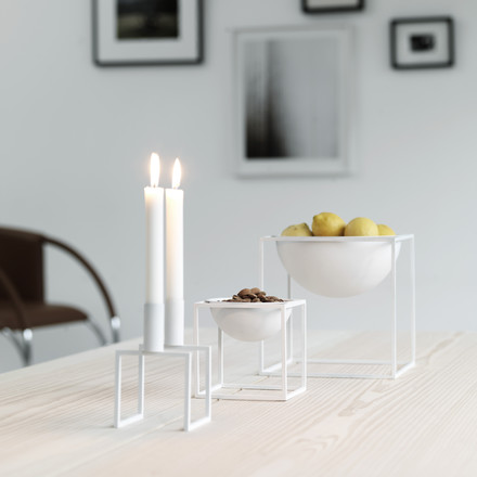 Large and small Kubus bowl with Kubus 2 candleholder in white