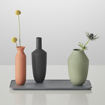 Muuto - Balance Vase (3 Vasen-Set), Block Colour with flowers
