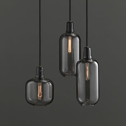 Normann Copenhagen - Amp Pendant Luminaire, smoke / black, group