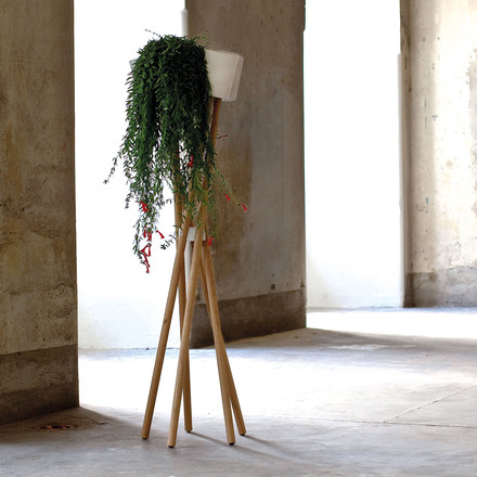 urbanature - high garden, oak wood / concrete white cachepot