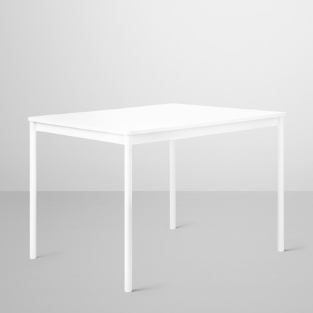 Base table by Muuto in white with plywood edge