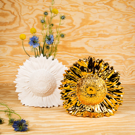 Areaware - Sunflower Vase, white, gold