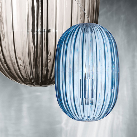 Foscarini - Plass Pendant Luminaire, grande grey, media azure