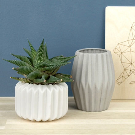 Riffle 1 and 3 Ceramic Votive / Vase in pure white and grey
