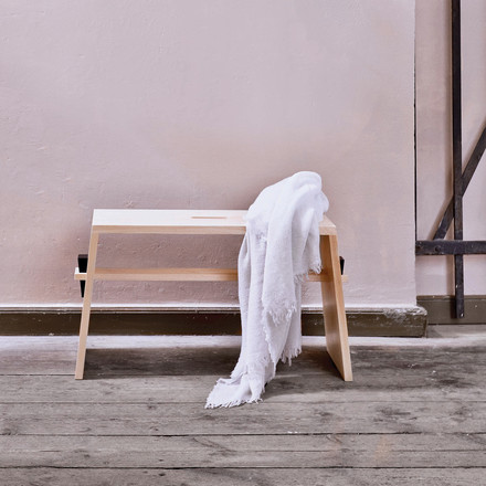 Wedge bench by Norrmade made of oiled ash wood and black wedge