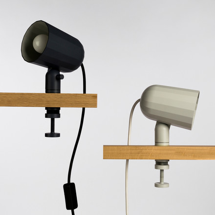 Moden clamp lamp in grey and off-white