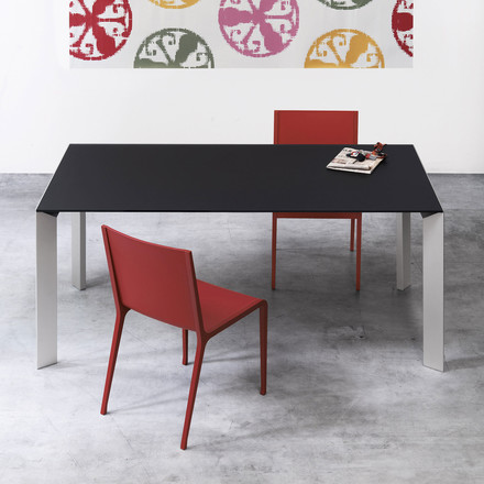 Kristalia Dining Table with red chairs