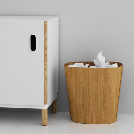 Elegant paper bin made of wood