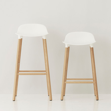 Form Bar Stool by Normann Copenhagen made of oak in white