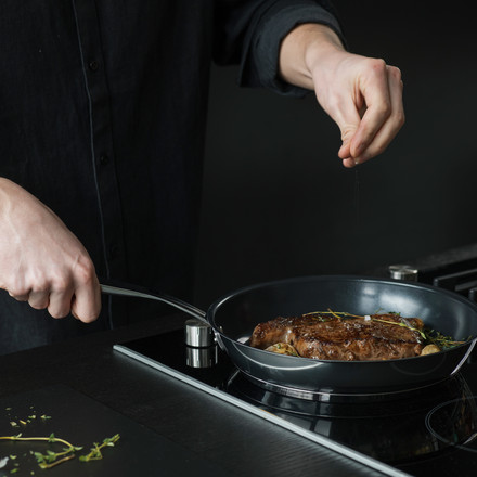 Cooking with a pan from the All Steel series