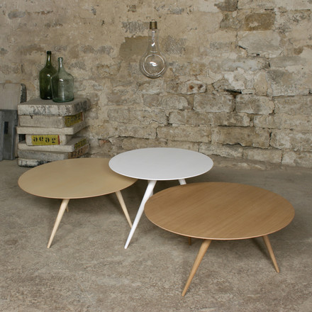 TURN LOW coffee table and TURN HIGH side table by Maigrau