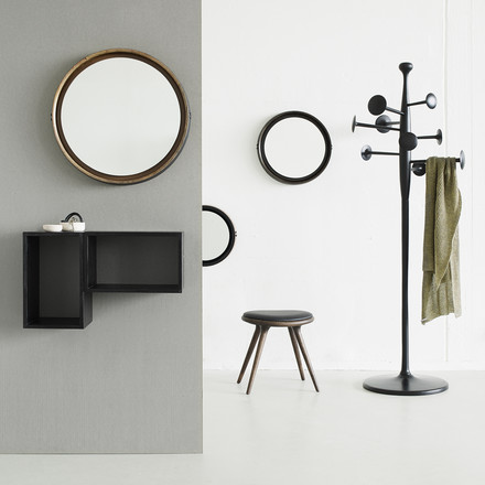 Stool in oak with Trumpet coat stand, Sophie Mirror and Box System made from mango wood by Mater.
