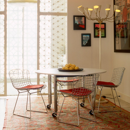 Bertoia steel chair at the dining table