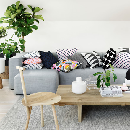 The Mint cushion cases by Marimekko on the sofa