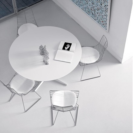 Arper - Eolo Table, LM1 Ø 120cm with laminate surface, white