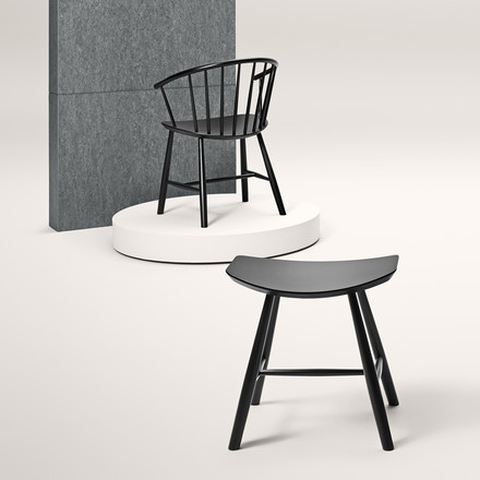 J63 Stool with J64 Chair by Fredericia