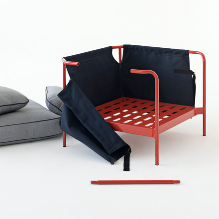 Hay - can chair, red / Canvas blue / canvas grey