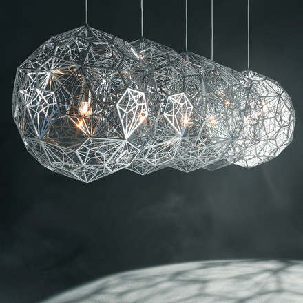 Etch Web Suspension Lamp by Tom Dixon made of stainless steel