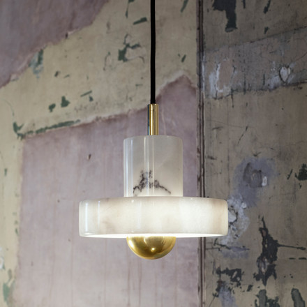 Suspension Lamp made of Marble and Brass