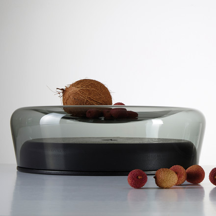 The Double Bowl in black lacquered oak / glass grey from Peruse