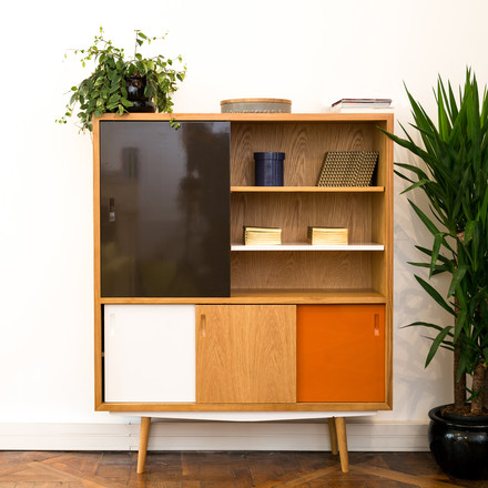 red edition - Fifties High Cabinet, chocolate / orange