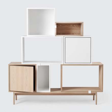 The Stacked shelf / shelf module by Muuto with door in white / ash